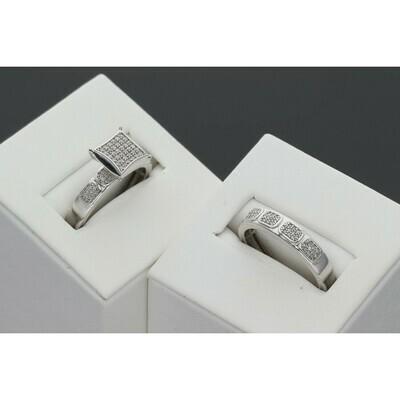 10 karat white gold & diamond 0.26 ctw wedding duo set S: 7 W: 5.2 ~