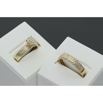 14 karat Gold  Diamond Duo Wedding Rings