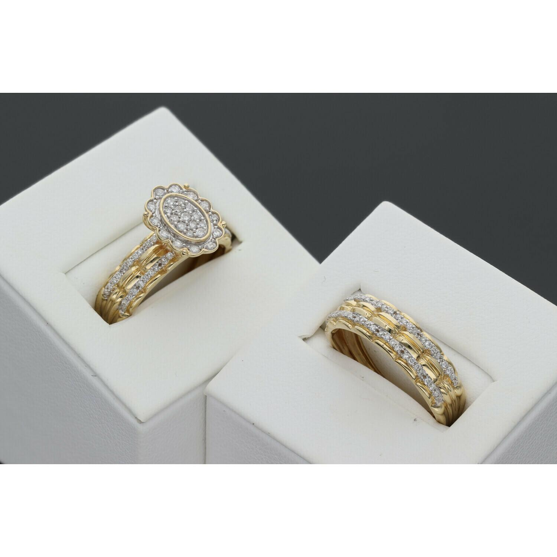 14 Karat Gold & Diamond Flower Wedding Duo Set Rings
