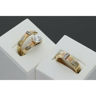 14 Karat Gold & Zirconium Three Tone Wedding Trio Set Ring
