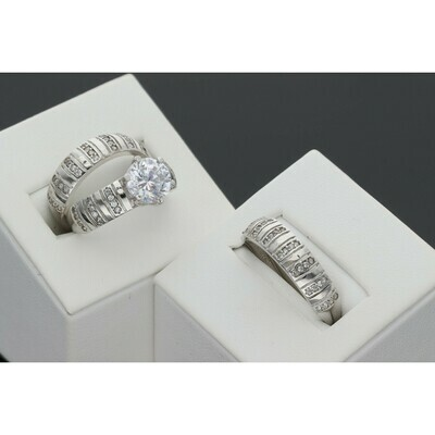 14 karat Gold & Zirconium White Gold Wedding Trio Set Ring