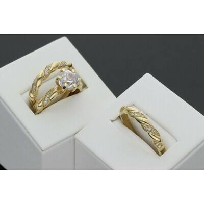 14 Karat Gold & Zirconium Turned Wedding Trio Set Ring
