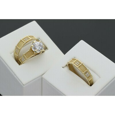 14 karat Gold & Zirconium  Two Texture Trio Wedding Set Rings