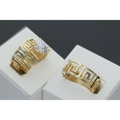 14 karat Gold & Zirconium Trio Wedding Rings