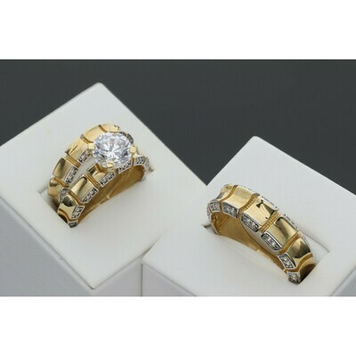 10 Karat Gold & Zirconium Fancy Wedding Trio Set Ring