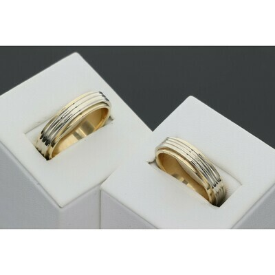 14 Karat Gold Wedding Band Lines Two Tone Ring
