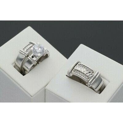 10 karat White Gold & Zirconium  Luxury Trio Wedding Rings