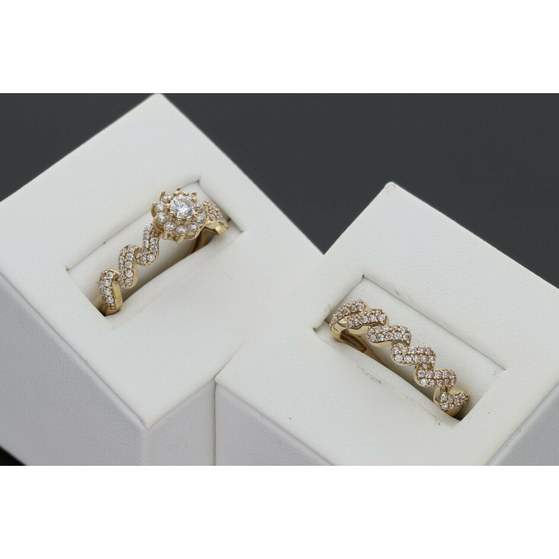 10 Karat Gold & Zirconium Zigzag Wedding Duo Set Ring
