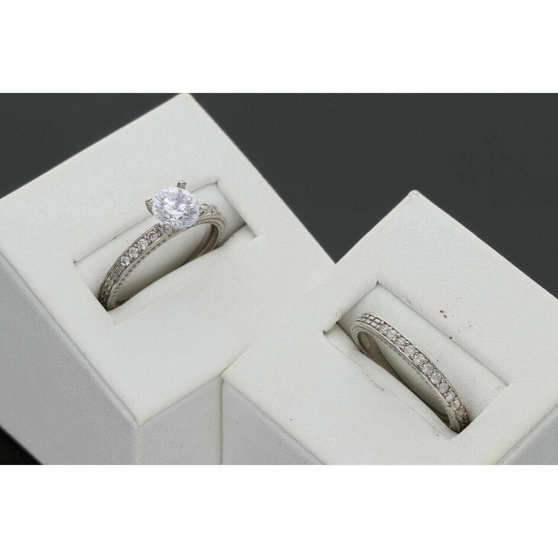 10 Karat White Gold & Zirconium Wedding Duo Set Ring