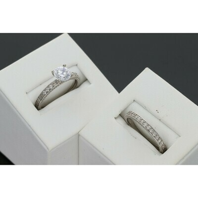 10 Karat White Gold & Zirconium Wedding Duo Set Ring