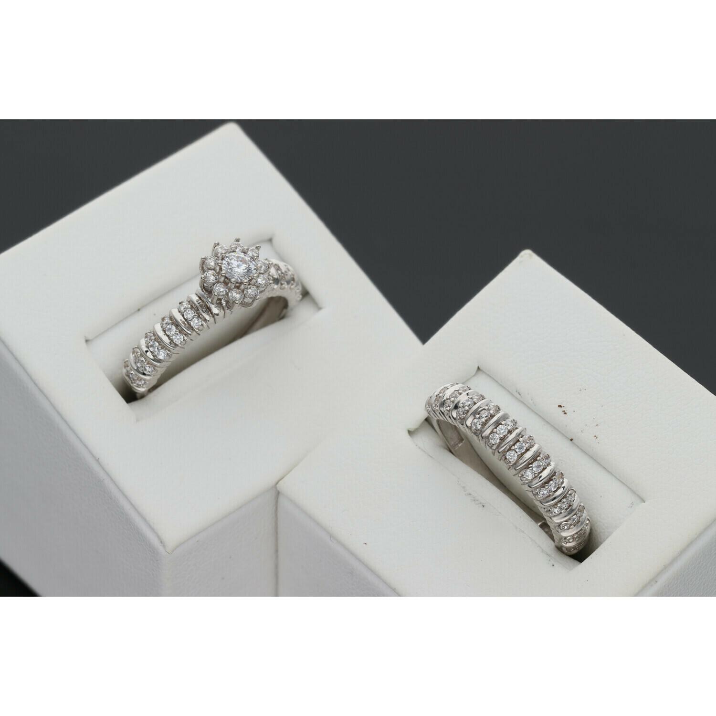 10 Karat White Gold & Zirconium Flower Wedding Duo Set Ring