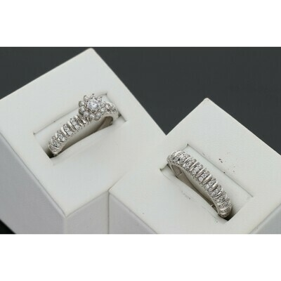 10 Karat White Gold & Zirconium Flower Wedding Duo Set Ring