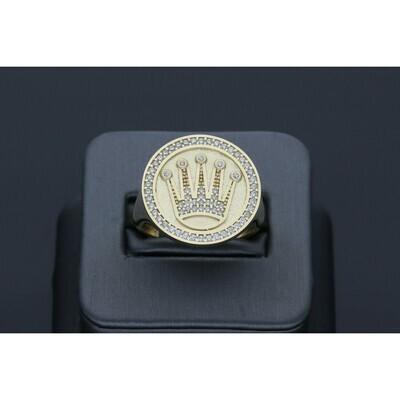 14 Karat Gold & Zirconium Circle Crown Ring