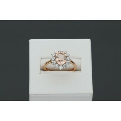 14 Karat Gold & Diamond & Morganite Gem Ring
