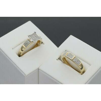 14 Karat Gold 0.50 Ctw Diamonds  Two Tone Square Head Segment Bands Wedding Duo Ring Set S: 7 W: 5.0 ~