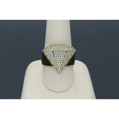 10 Karat Gold & Zirconium Diamond Shape Ring