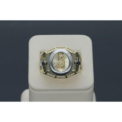 10 Karat Gold & Zirconium Two Tone Cross St. Lazarus Ring