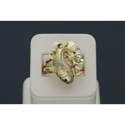 14 Karat Gold Flower Koi Fish Ring