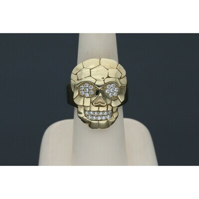 10 karat Gold & Zirconium Skull Ring