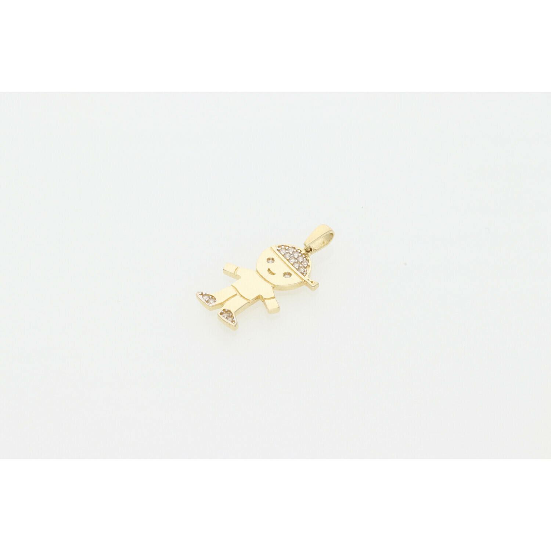 14 Karat Gold & Zirconium Boy Charm