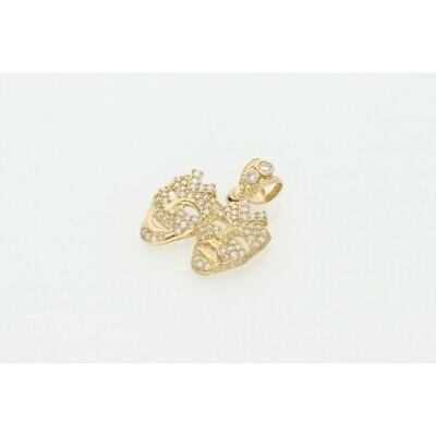 10 karat Gold & Zirconium Masks Charm
