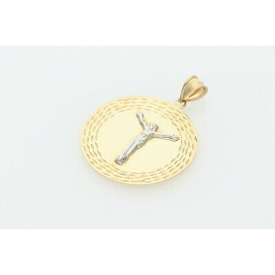 10 karat Gold Two Tone Jesus Medal Charm