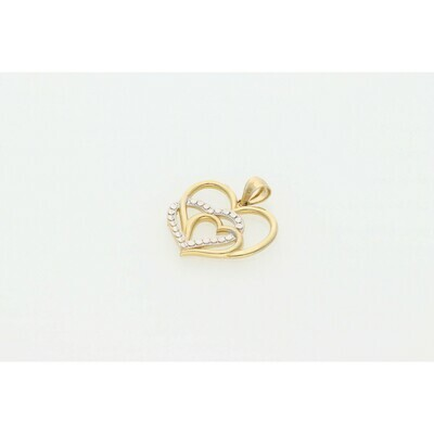 10 Karat Gold 3 Hearts Two Tone Charm