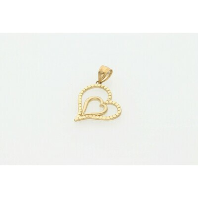 10 Karat Gold Heart Diamond Cut Charm