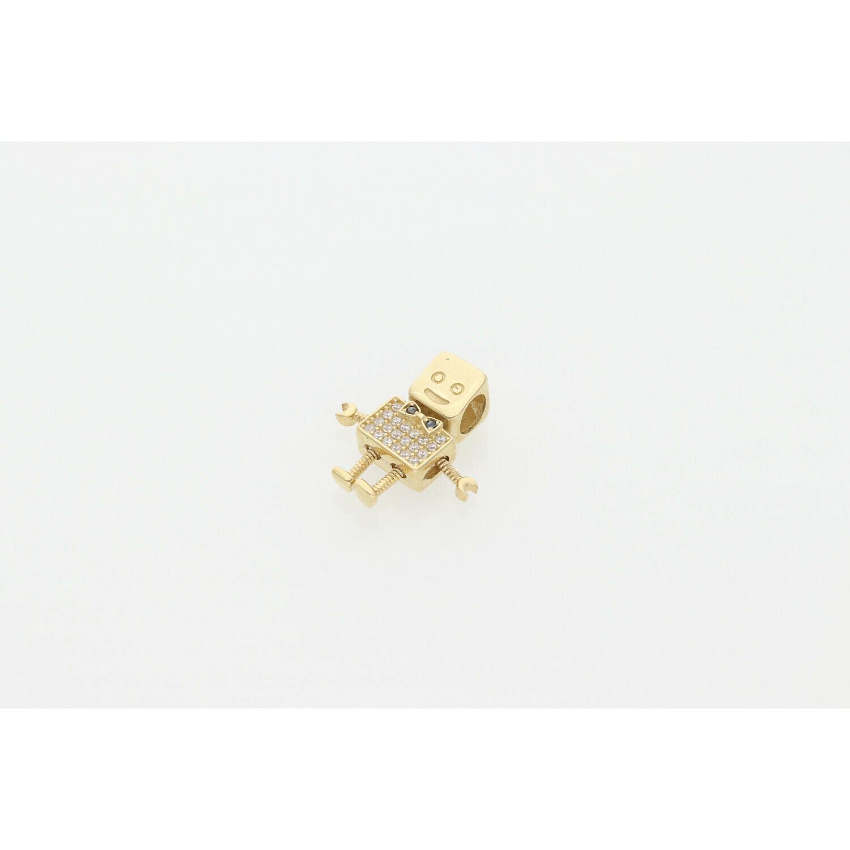 14 Karat Gold & Zirconium Robot Boy  Charm