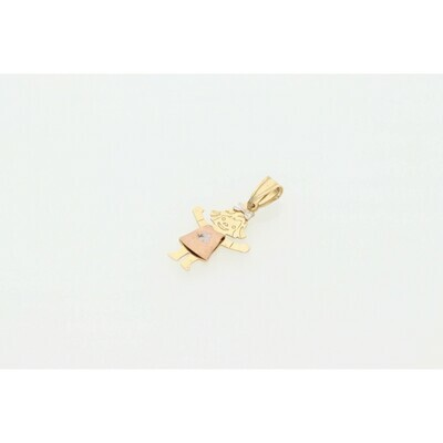 14 karat Gold Girl Three Tone Charm