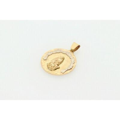 10 Karat Gold Two Tone St. Lazarus Medal Charm W: 4.3 ~