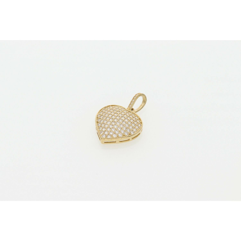 10 karat Gold and CZ Heart Charm W: 2.7