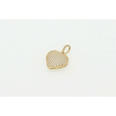 10 karat Gold and CZ Heart Charm W: 2.7