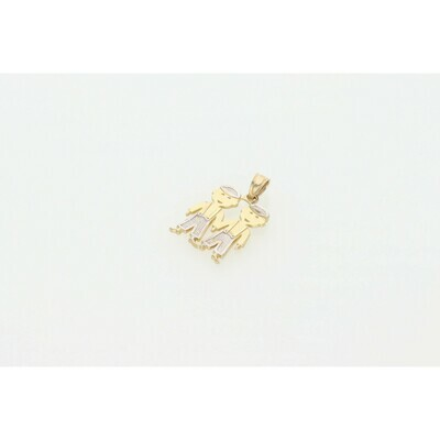 10 Karat Gold Two Boys Charm Two Tone W: 1.3g ~