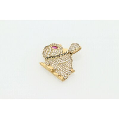 10 karat Gold & Zirconium Dog Charm