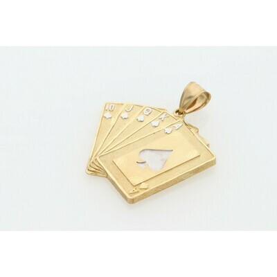 10 Karat Gold Two Tone Cards Charm