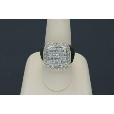14 Karat Gold & Diamond Cubit Rectangle Ring
