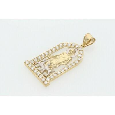 10 Karat Gold & Cz St. Lazarus House Charm W: 6.5 ~
