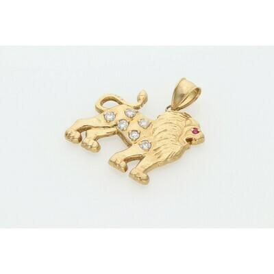 10 Karat Gold & Zirconium Lion Charm