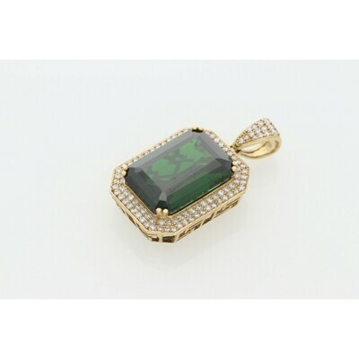 10 karat Gold & Zirconium Green Square Charm