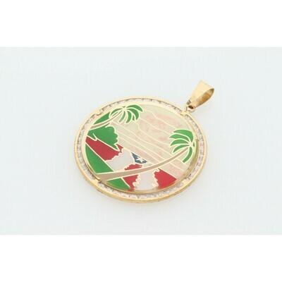 10 karat Gold & Zirconium Puerto Rico Medal Charm
