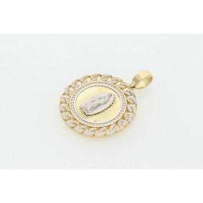 14 karat Gold & Zirconium Guadalupe Virgin Medal Charm