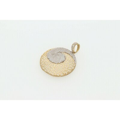 10 Karat Gold & Zirconium Circle Fancy Charm