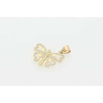 10 karat Gold & CZ Butterfly Charm W: 2.8 ~