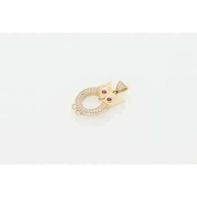 14 karat Gold & Zirconium Owl Charm