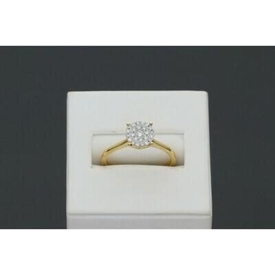 14 Karat Gold & Diamond Circle Luna Cluster Ring