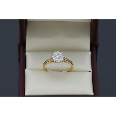 14 Karat Gold & Diamond Luna Cluster Single Row Diamond Shank Ring