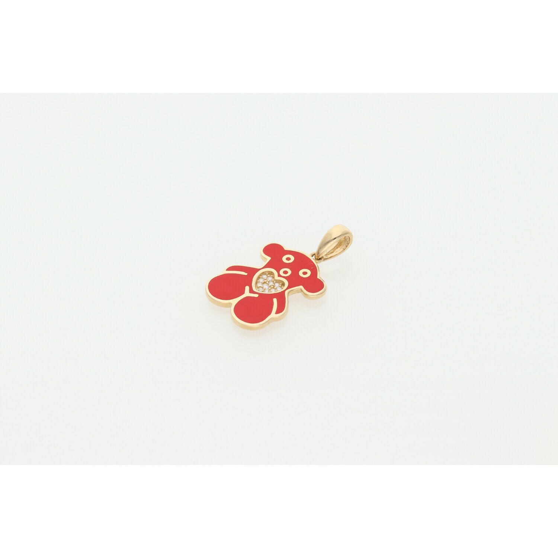 14 Karat Gold & Zirconium Red Teddy Bear & Heart Charm