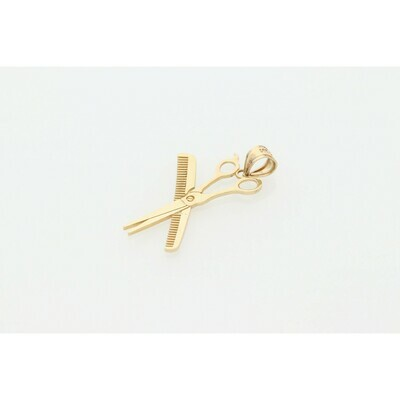 14 karat Gold Scissors and comb Charm W: 2.3g  ~