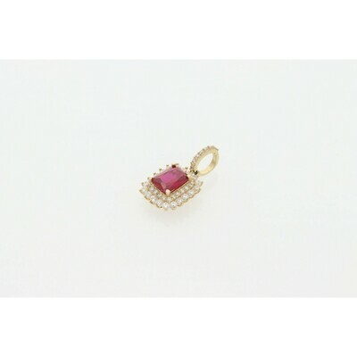 10 Karat Gold & Zirconium Red Square #1 Charm